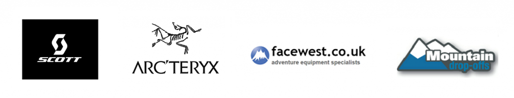 scott, arcteryx, facewest, mountain drop offs logos